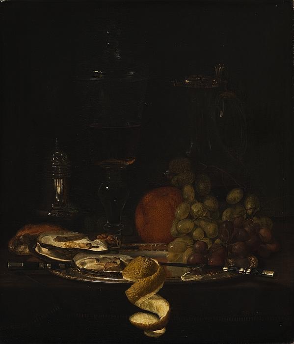 Nature morte med østers og frugter, et frokostbord