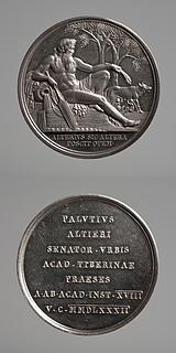 Medalje forside: Tiberflodens Gud og Romulus og Remus som dier ulvinden. Medalje bagside: Indskrift