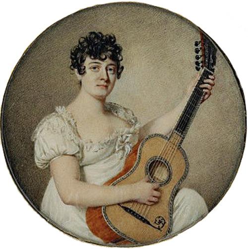 Jean Urbain Guerin, Portræt af Angelica Catalani, siddende, spillende guitar, Musée du Louvre