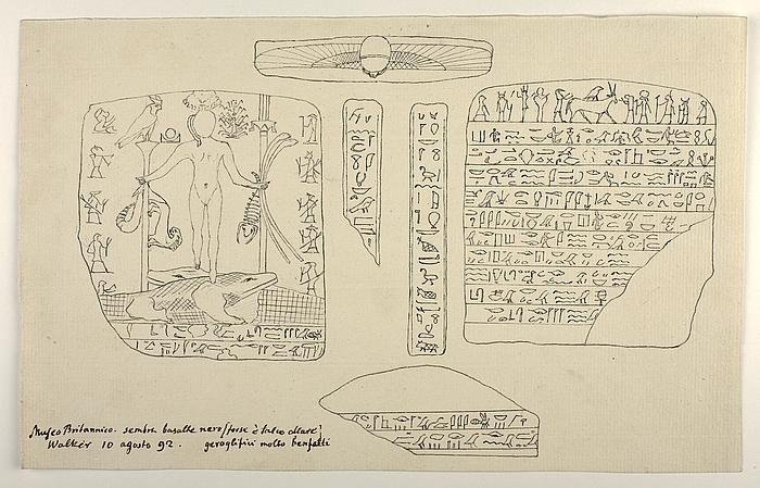 Figur stående på to krokodiller. Hieroglyffer