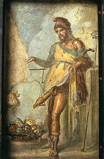 Unknown artist, Priapus, fresco from Casa dei Vettii, Pompeii, ca. 65-79 AD, Naples National Archaeological Museum [formerly the Real Museo Borbonico]