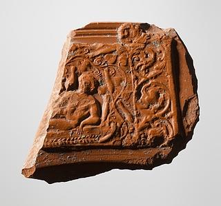 Skål med reliefdekoration af Jonas liggende under et Johannesbrødtræ. Romersk