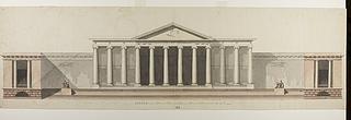 Råd- og Domhus i romersk stil, opstalt af facade