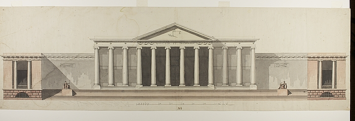 Project for city hall and court house in roman style for Roman style house