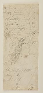 Svævende engel, der holder et klæde med portrætskitse, til et ubekendt gravmæle