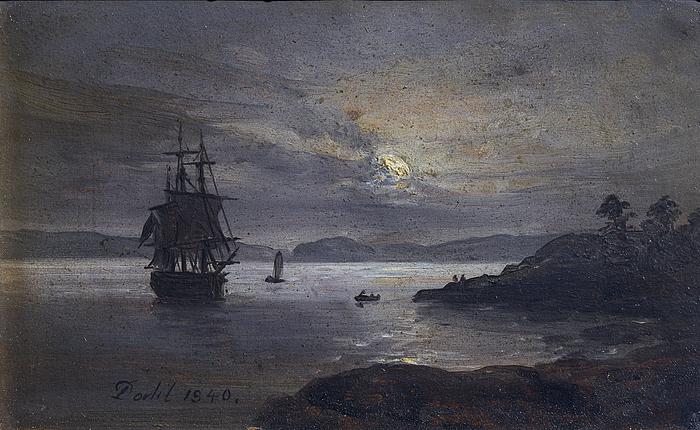 Kysten ved Laurvig i Norge i måneskin