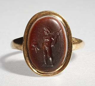 Eros med sværd og hjelm. Hellenistisk-romersk ringsten