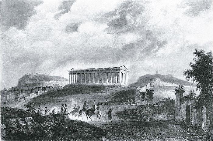 J. J. Wolfensberger: Udsigt mod Theseion set fra nordvest, ca. 1840