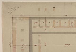 2 Udsnit af Bindesbølls fundamentsplan, ca 1840