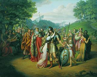 J.L. Lund: Habors tilbagekomst fra slaget, 1813
