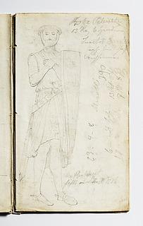 Middelalderlig gravfigur, mand i rustning med skjold
