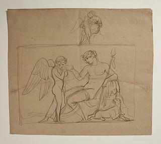 Bacchus giver Amor at drikke. Amor klager til Venus over et bistik