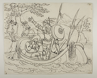 Don Quixote og Sancho Panza sejler på Ebro floden