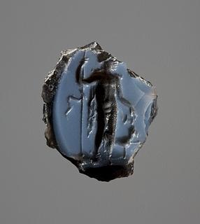 Dionysos der hælder vin i munden på en panter. Hellenistisk-romersk ringsten