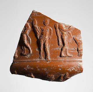Skål med reliefdekoration af mandsfigurer. Romersk