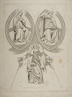 Den dømmende Kristus og Maria i mandorla, lurblæsende engle