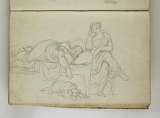 Sengeliggende kvinde med en siddende kvinde og en hund