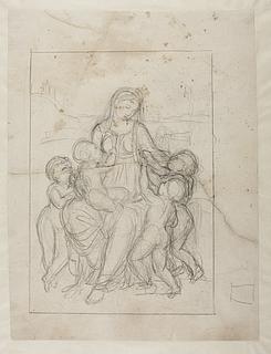 Bertel Thorvaldsen: Caritas, kvinde med fire børn (Copyright tilhører Thorvaldsens Museum)