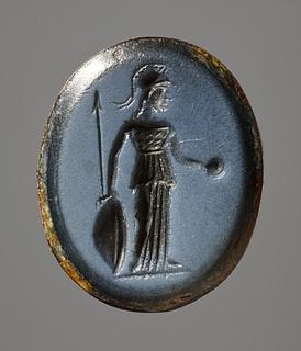 Athene med spyd, skjold og offerskål. Hellenistisk-romersk ringsten