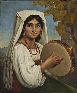 Romerinde, der slår på en tamburin