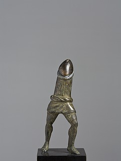 Walking boy wearing a cucullus, Roman bronze statuette in two parts, 0-200 AD, without top section, Thorvaldsens Museum