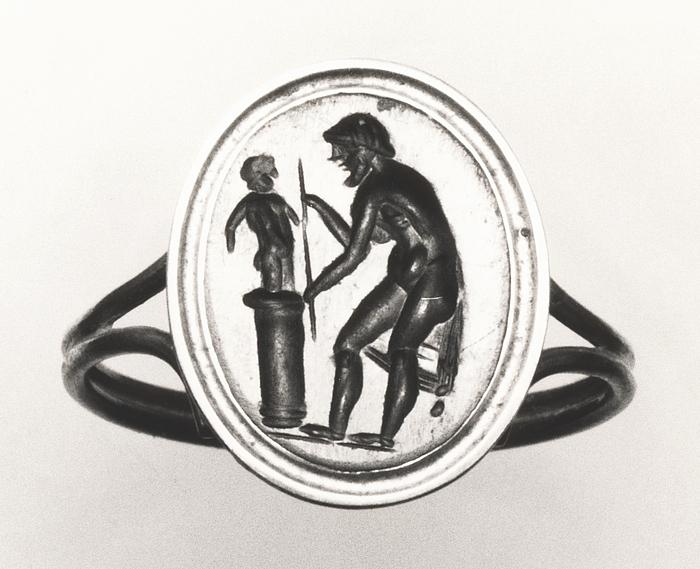 Billedhugger der arbejder på en skulptur. Romersk republikansk ringsten