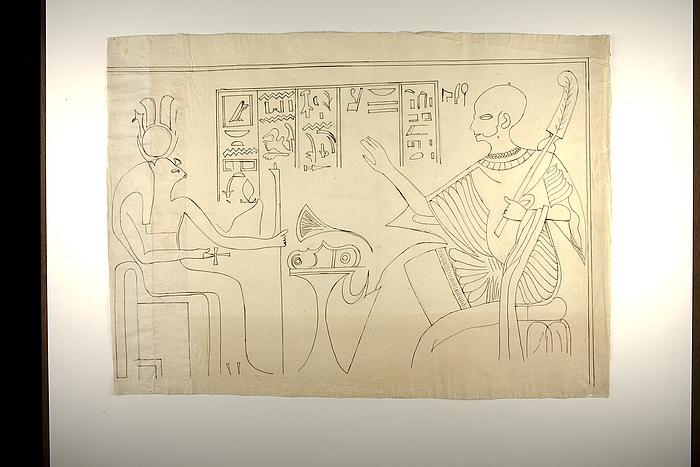 Motiv med figurer og hieroglyffer, øverste højre parti