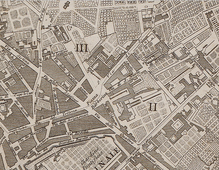 Piazza Barberina, Pietro Ruga, Pianta topografica di Roma moderna estratta dalla grande del Nolli an.1818