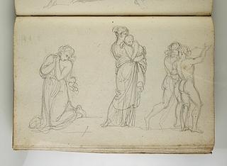 Den bodfærdige Maria Magdalena. En mor med barn på armen. To unge mænd
