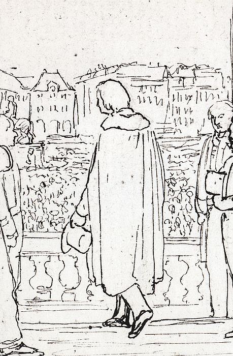 C.C. Peters: Bertel Thorvaldsen på Charlottenborgs balkon, 1838