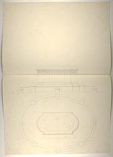 Sokkelforslag til monument over Maximilian 1. (?), grundplan og opstalt