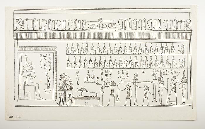Figurer og hieroglyffer fra papyrus