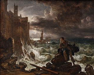 """Franz Ludwig Catel: Nächtliche Szene. Nach dem Schluß von Chateaubriands """"René"""", 1821? - Copyright gehört Thorvaldsens Museum"""