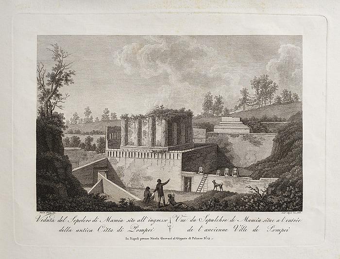 Veduta del Sepolcro di Mamia sito all'ingresso della antica Città di Pompei (Mamia graven ved indgangen til den antikke by Pompej)