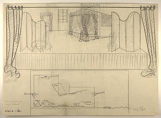 """Sceneudkast til """"La serva Padrona"""" opført i Thorvaldsens Museum 8. januar 1943"""