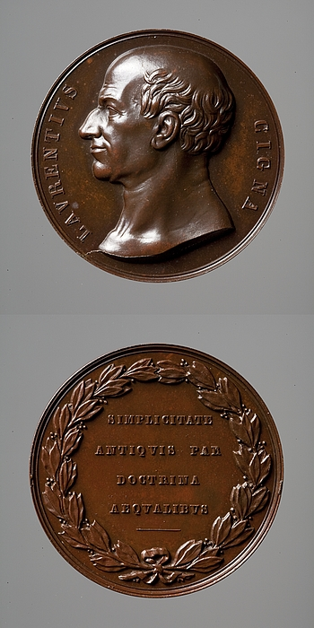 Medalje forside: Laurentius Cigna. Medalje bagside: Laurbærkrans og inskription