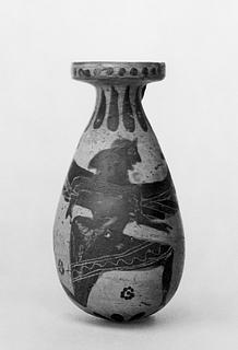 Alabastron med en bevinget gudinde og en panter. Græsk korinthisk
