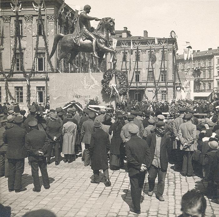 Opstilling af Poniatowski-statuen, Warszawa 1923