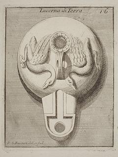 Lampe dekoreret med to svaner