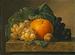 Nature morte med frugter på en marmorbordplade
