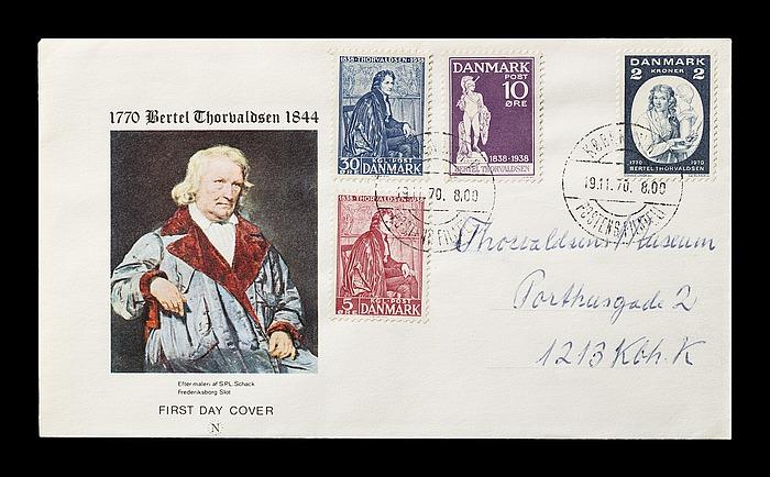 Førstedagskuvert med Thorvaldsen-frimærker på billedhuggerens 200-års fødselsdag, 19.11.1970