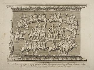 Ryttere og fodfolk i et udsnit fra Marcus Aurelius søjlens base
