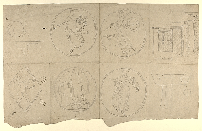 Apollon, Minerva, dansens genius, bygningskunstens genius og Polyhymnia