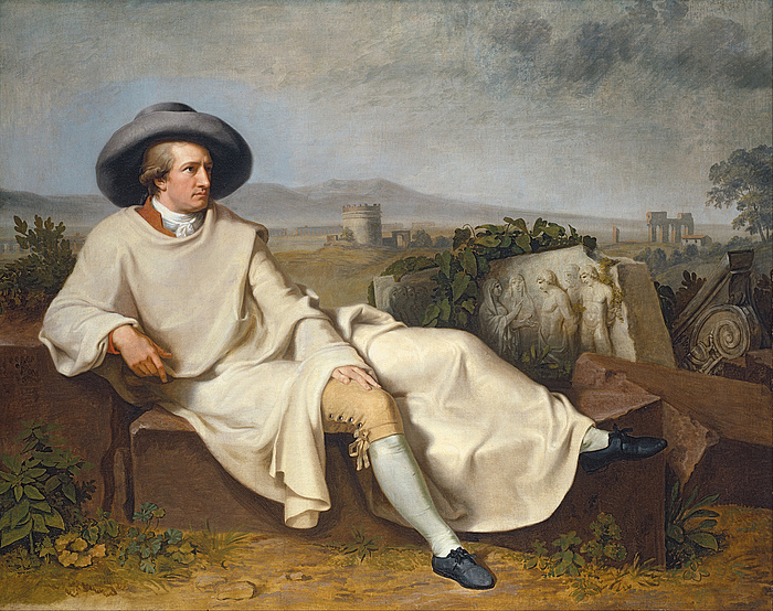 Johann Heinrich Wilhelm Tischbein: Goethe in the Roman Campagna, 1787, oil on canvas, 164×206 cm, Städelches Kunstinstitut und Galerie, Frankfurt am Main