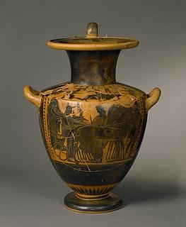 Hydria med bryllupsoptog (bug) og Herakles og den nemeiske løve (skulder). Græsk