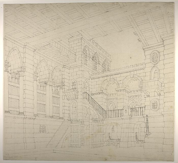 Middelalderlig fængselsbygning, perspektivisk tegning til en teaterdekoration