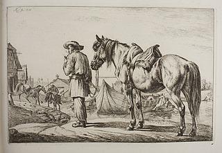 En slovak med sin hest ved en flod