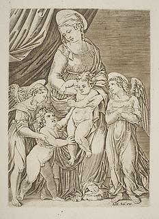 Madonna med Jesusbarnet, Johannes og to engle