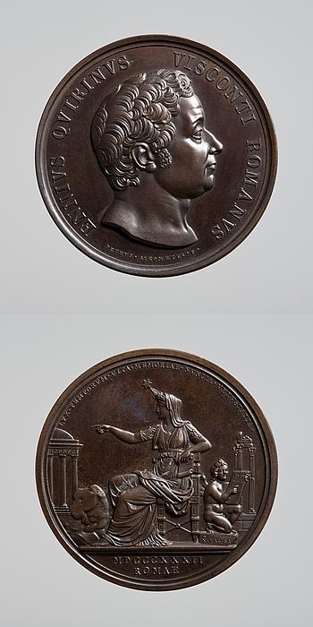 Medalje forside: Arkæolog Ennius Quirinus Visconti. Medalje bagside: Historien