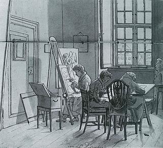 Martinus Rørbye: Interiør fra Kunstakademiet, 1825